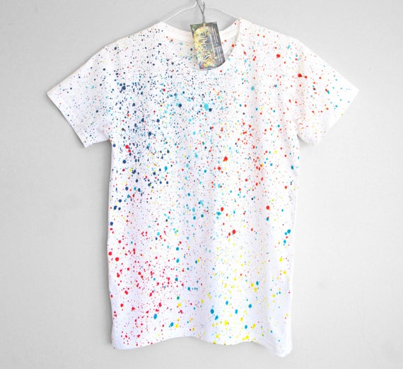 COLOUR SPLASH t-shirt. 100% organic cotton t-shirt for women. Hand painted. Splash. Speckle.