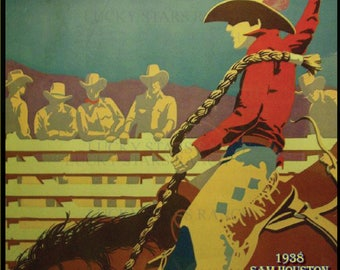 Houston Texas Rodeo Cowboy Cowgirl  Rodeo 18x24 Vintage Print