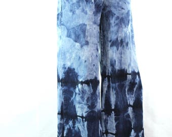 Tie Dye Upcycled Ladies Wide Leg Levi Jeans