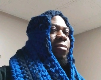 The Best Priced  Custom Made Handmade Crocheted Navy Blue And Royal Infinity Scarf Can Come With a Hood and Spacious Pocket Extra Priced