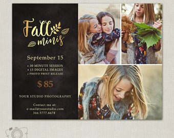 Fall Mini Session Template - Photography Marketing Board - Flyer 115, INSTANT DOWNLOAD