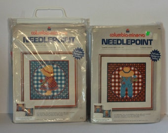 Columbia Minerva Needlepoint Kits Country Girl & Country Boy. The boy has been started by Meredith Gladstone