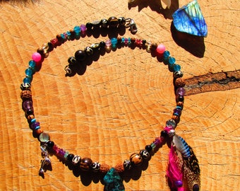 Ethnic necklace, boulder Opal, dolphin, feathers, Amethyst, bone, rudraksha, apatite