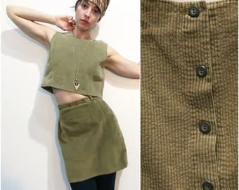 1960s Mod Minimal Tan Corduroy Two-Piece Dress Set // Croptop w Buttoned Back & High-Waist Pencil Skirt Set sz S / 4 / 6