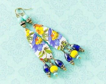 Long Bohemian Floral Vintage Tin Earrings with Turquoise, Yellow and Cobalt Blue Beads, Long Earrings, Boho Chic Jewelry