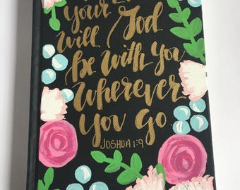 Journal - Hand Painted Journal - Graduation Gift - Bible Journaling - Personalized Journal - Scripture - New Adventure - Going Away Gift