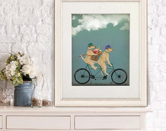Print of dogs - Yellow Labrador on tandem - Yellow lab Labrador retriever decor Cycling gift Bike art Bicycling Gift for pet lover Dog print