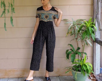 Vintage Jumpsuit / Floral Early 90's Small