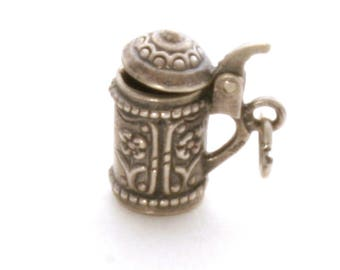 Beer Stein Bracelet Charm Vintage 800 Silver Moving Lid with Flowers