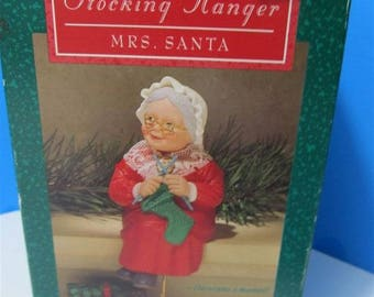 Vintage Hallmark 1988 Knitting Mrs. Santa Clause Vintage Christmas Stocking Hanger Holder Collectible Collector Holiday Gift