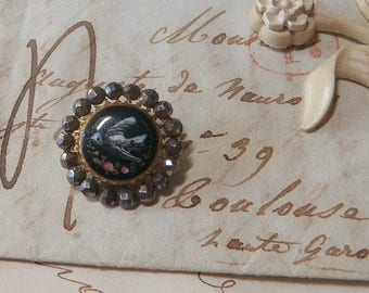 Painted Enamel Bird Button with Pierced Facetted Steel Border