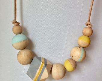 Wood bead hand painted necklace gray mustard yellow robins egg blue