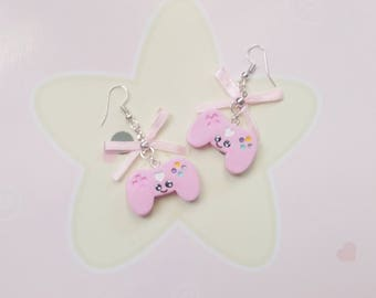 earrings kawaii controller polymer clay