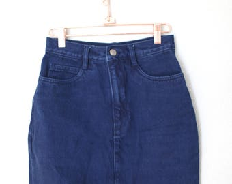 vintage high waist navy blue denim mini skirt 26