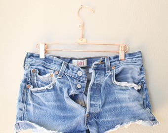 vintage 1980's distressed cut off levis 501 button fly  jean shorts 30 *