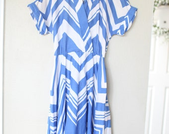 vintage nautical blue and white striped dress