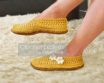 Crochet pattern: women espadrilles with rope soles,soles pattern included,slippers,loafers,shoes,adult,girl,cord,twine,summer