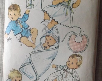 Newborn Layette Set in One Size, Incl. Scalloped Dress, Kimono, Vintage 60s Simplicity Sewing Pattern 8066 Mostly Uncut
