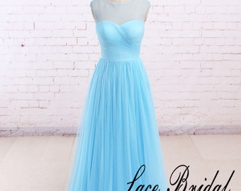 Blue Evening Dress, Romantic Tulle Bridesmaid Dress, A-line Floor-length Prom Dress, See Through Back Prom Dress