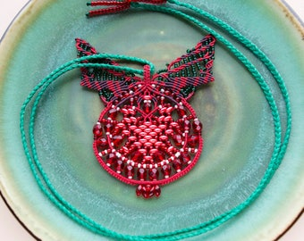 Red pomegranate, macrame necklace, unique, OOAK, micro-macrame jewelry, statement, beadwork, beadwoven, crimson red green, fruit, bright