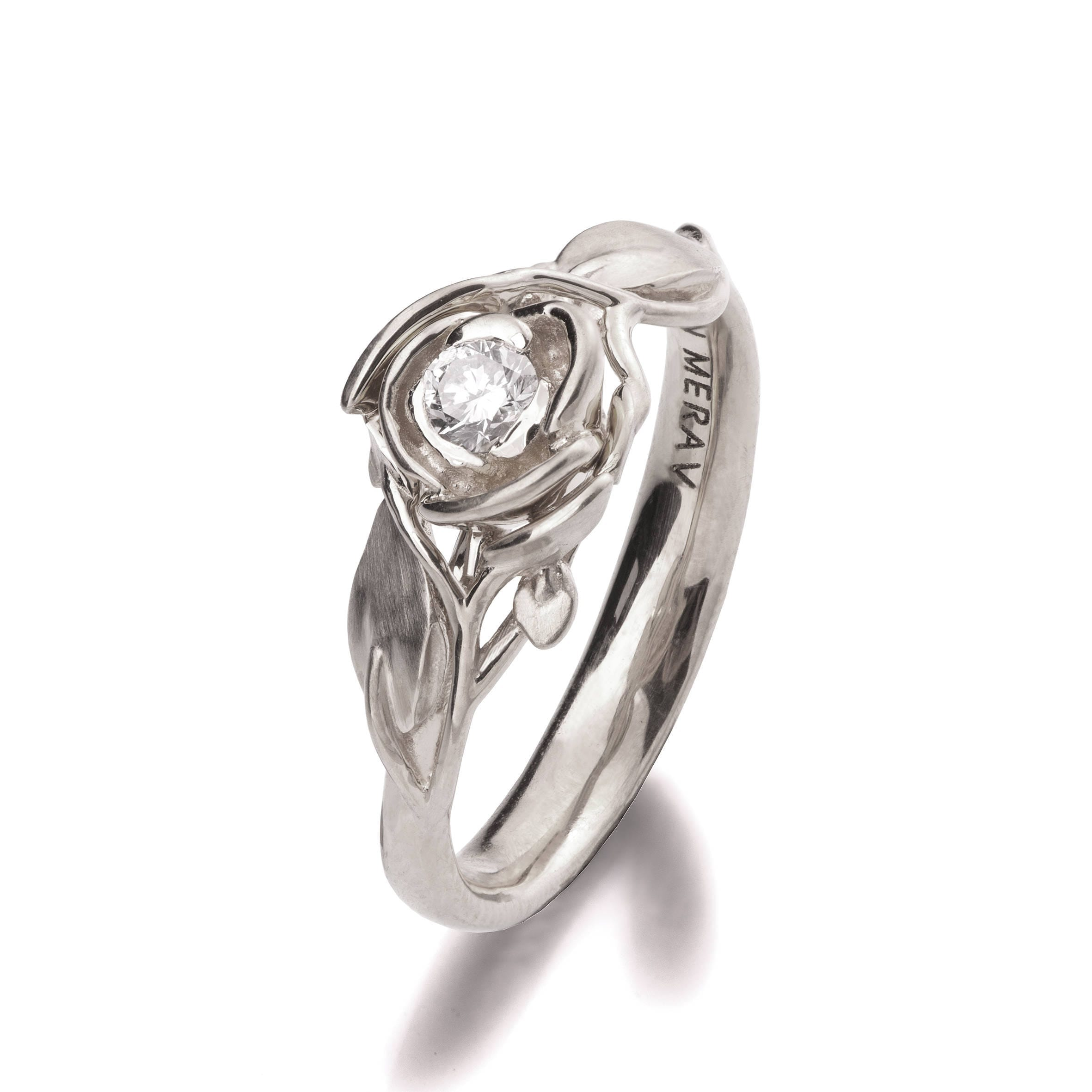 Rose Engagement Ring No 3 18K White Gold and Diamond