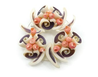 Vintage Sea Shell Brooch, Cluster