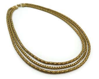 Vintage Brass Tone Necklace, Three Strand, Rolo Chain