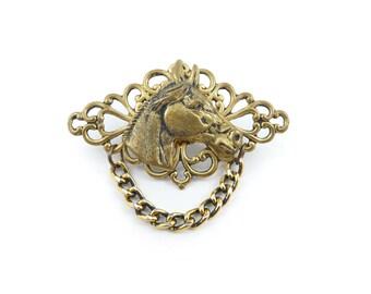 Vintage Horse Brooch, Filigree