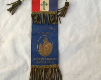 1800s Antique Funeral Ribbon Cleveland Ohio, Vintage 1895 Funeral Medal Medallion Silk Badge Czech, R A Koch Co, Victorian Funeral Ribbon