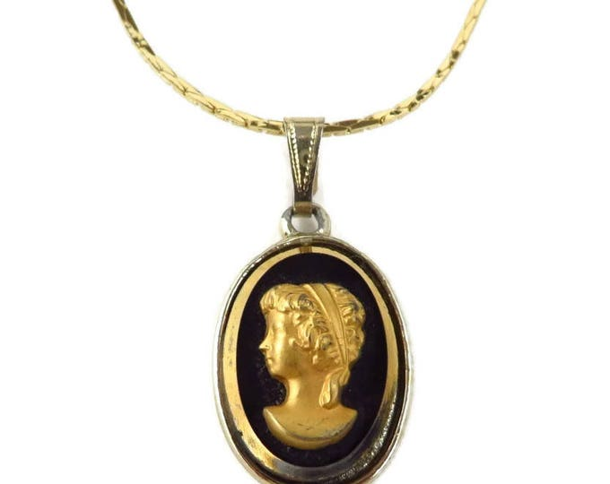 Cameo Pendant Necklace, Vintage Black and Gold Cameo. 16 inch Chain Necklace
