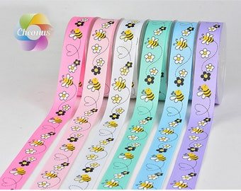5 yards, 1 inch 1'' 25mm, Grosgrain ribbon, Honeybee,Marlin, printed ribbon