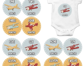 Monthly Baby Milestone Stickers Baby Boy Baby Shower Gift One-Piece Baby Stickers Monthly Baby Stickers Baby Month Sticker Airplanes 1089