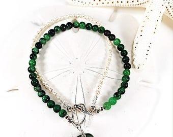Sea Glass Bracelet|seaglass bracelet|gemstone bracelet| green bracelet|pearl bracelet|beach glass bracelet| gift for her| Valentines gift