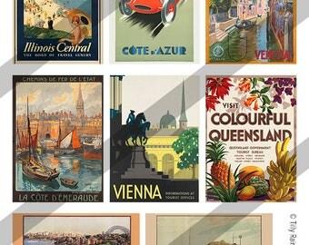 "Digital Printable Collage Sheet - 2.5"" x 3.5"" Vintage Travel ATC Digital Download"