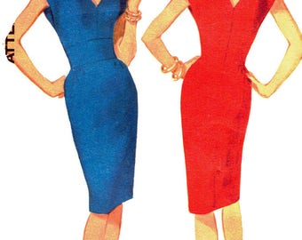 Advance 3460 Womens' Vintage 1960s Mod Wiggle Dress With V-Neck And Kimono Sleeves Sewing Pattern