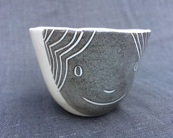 Pleased Grey and White Face Cup: espresso-sized, modern handmade, hand built.