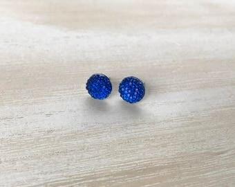 Cobalt Blue Earrings / Blue Stud Earrings / Rhinestone Earrings / Blue Wedding Jewelry / Something Blue / Rhinestone Studs / Bridal Jewelry