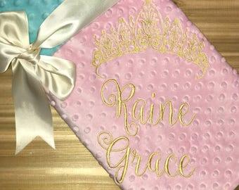 Personalized Tiara Blanket - Blush & Aqua Minky Baby Blanket