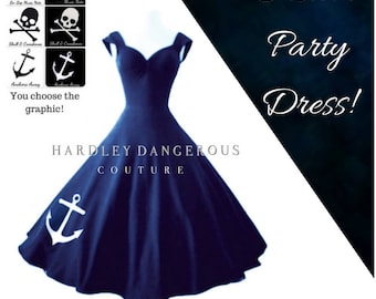 Navy Blue ANCHOR Dress by Hardley Dangerous Couture, Retro Pin Up Swing Dress, Multiway Capped Sleeves, Casual Stretch Knit