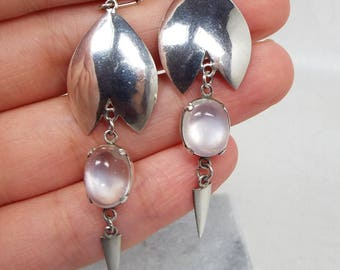 Vintage / Sterling Silver Mid Century Statement Moonstone Hook Drop Earrings 925