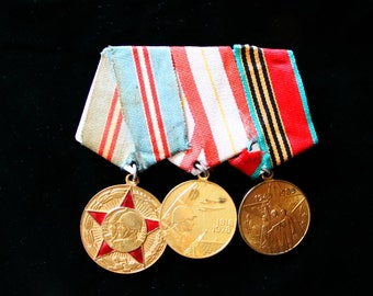 Soviet Russia Era 3 Medal Bar