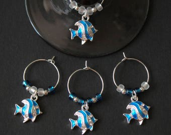 Fish Wine Glass Charms-Enamel & Rhinestone-ENFISH002-4