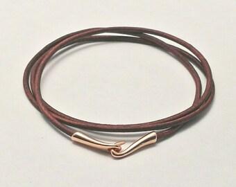 Pandora style brown leather charm bracelet with rose gold hook and eye clasp .triple wrap. Fits Thomas Sabo,Pandora,European charms