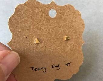 Gold Tiny Triangle Stud Earrings - Gold plated over Sterling Silver