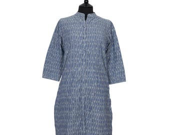 IKAT TUNIC – All sizes – Pale Denim Blue and Off White – 100% cotton