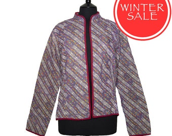 WINTER SALE - X Large size - Short Kantha Jacket - Light purple background with off white striped design. Reverse blues and greens.