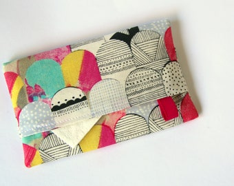 Travel tissue holder, Pocket tissue holder, Fabric tissue cover, tissue pouch, Laura Blythman Fabric, Abstract scallops