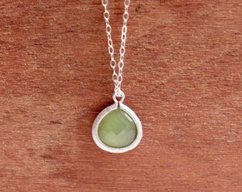 Peridot crystal necklace, olive green teardrop pendant, august birthstone, sterling silver chain