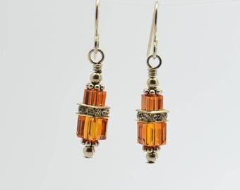 Orange Topaz Swarovski Crystal Squaredelle Earrings // November birthstone earrings // Special event earrings // Bridesmaid earrings
