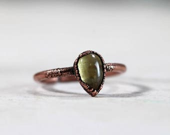 Citrine Ring Electroformed Ring Copper Ring November Birthstone Small Stone Ring Polished Cabochon Ring  Delicate Ring Pale Yellow Stone